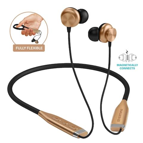 Overtime Wireless Sport Earbuds with Neckband, Magnetic HD Stereo Earphones Sweat Proof In-Ear Headphones with Microphone