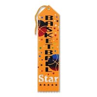 "Pack of 6 Golden Yellow ""Basketball Star Award"" School Award Ribbon Bookmarks 8"""