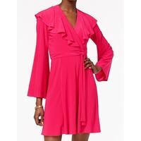 Taylor Pink Womens Size 8 Ruffle Tie-Waist Jersey Knit Wrap Dress
