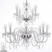 Crystal Chandelier Lighting With Candle Votives H30 W28 For Indoor/Outdoor Use