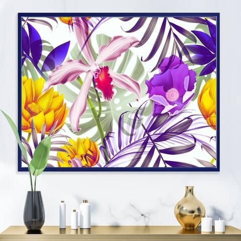 Designart 'Tropical VIntage Flowers IX' Traditional Framed Canvas Wall Art Print
