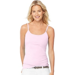 Hanes Women's Stretch Cotton Cami with Built-In Shelf Bra - Size - M - Color - Paleo Pink