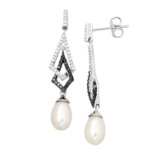 Freshwater Pearl & 1/3 ct Black & White Diamond Interlocking Drop Earrings
