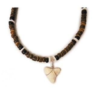 """Boys Sharks tooth Necklace 18"""" Brown/White"""