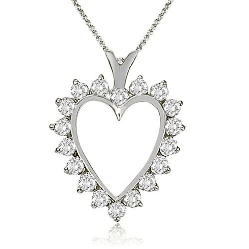 2.00 cttw. 14K White Gold Round Cut Diamond Heart Shape Pendant