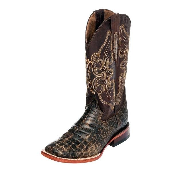 Ferrini Western Boots Womens Croc Print Stitching Chocolate