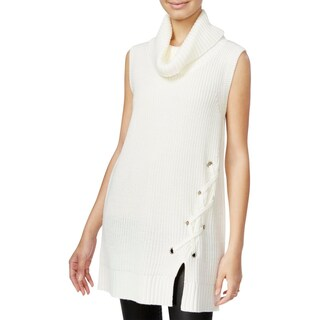 BCX Womens Juniors Sweater Vest Lace-Up Detail Sleeveless - S