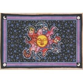 "Handmade Smiling Sun Moon Star Divine Spiritual Yoga Tapestry Cotton Tablecloth Coverlet 55""x85"""