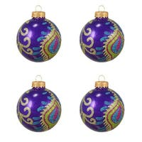 "4ct Purple Peacock Glittered Glass Ball Christmas Ornaments 2.5"" (65mm)"