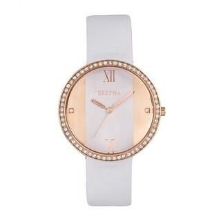 Bertha Ingrid Leather-Band Watch - White