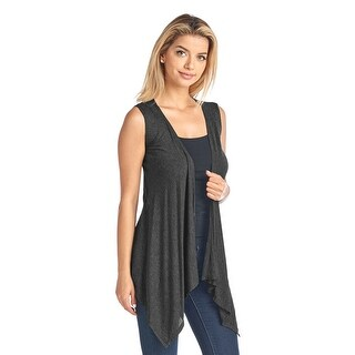 Sharons Outlet Short Solid Sleeveless Cardigan GUNMETAL (SM)
