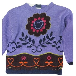 Disney Little Girls Purple Floral Mickey Mouse Design Knit Sweater 4-6X
