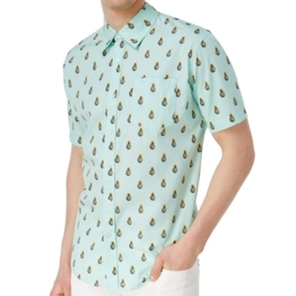 f72580f3 Shop Univibe NEW Green Pineapple Print Mens Size Large L Button Down Shirt  - Free Shipping On Orders Over $45 - Overstock - 20899477
