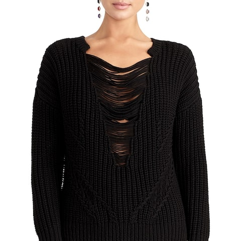 Rachel Rachel Roy Womens Rina Pullover Sweater Knit Destroyed