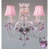 Swag Plug In Crystal Chandelier Lighting With Pink Crystal*Hearts*& Pink Shades H17 x W17