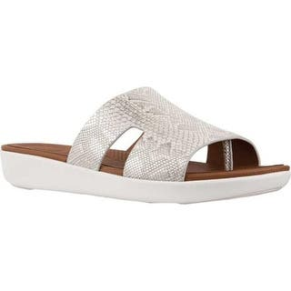 638476e6ab4d7 FitFlop Women s H Bar Slide Urban White Python Print Leather