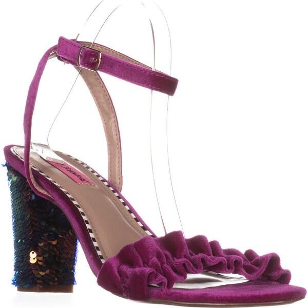Betsey Johnson Iliana Ankle Strap Dress Sandals, Magenta Velvet