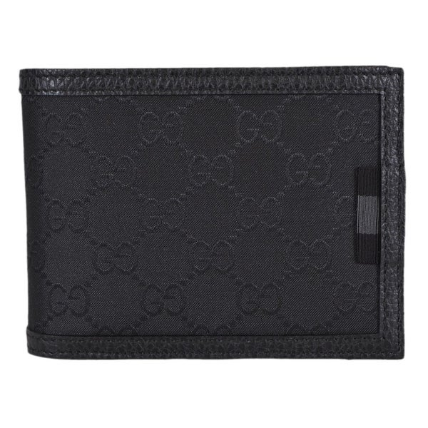 Gucci 333042 Black Nylon GG Guccissima Web Bifold Wallet W/Removable ID