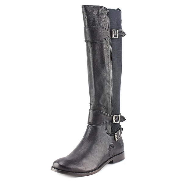 Frye Anna Gore Tall Women Round Toe Leather Black Knee High Boot