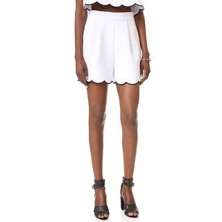 Kendall + Kylie NEW White Womens Medium M Scallop Hem High-Rise Shorts