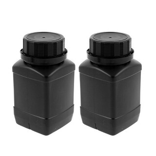 2pcs 250ml Plastic Round Wide Mouth Chemical Sample Sealed Reagent Bottle Black