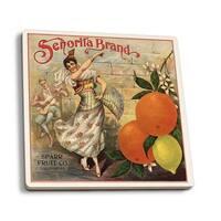 Senorita Brand - CA - Citrus Crate - Vintage Label (Set of 4 Ceramic Coasters)
