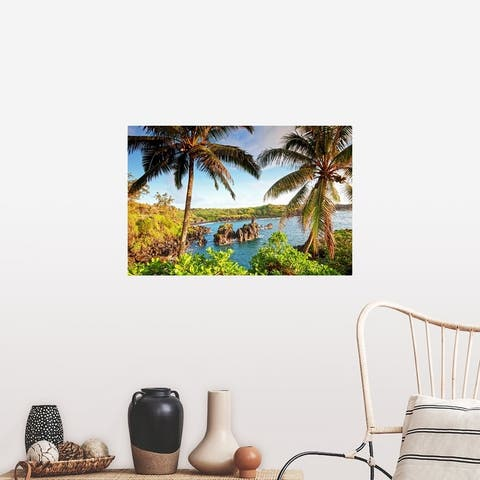 """Palm trees and coastline, wainapanapa state park at sunrise in Maui, Hawaii"" Poster Print"