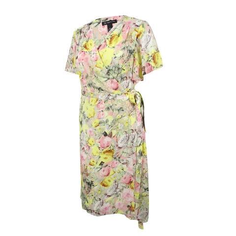INC International Concepts Women's Print Wrap Dress (14W, Mixed Floral Bouquet)