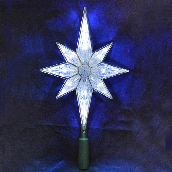 105 lighted led 8 point star christmas tree topper pure white lights