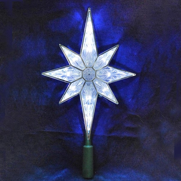 105 lighted led 8 point star christmas tree topper pure white lights - Lighted Christmas Tree Toppers