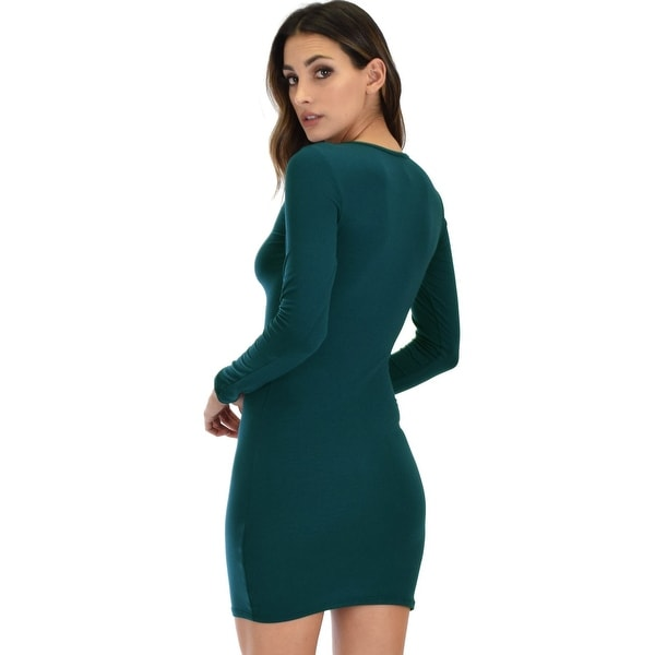 Shop Hearts Content Long Sleeve Cross Straps Black Bodycon Dress