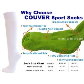 White Couver Knee High Unisex Sports Athletic Baseball Softball Socks(3 Pairs)