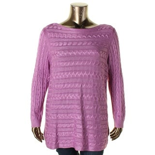 Lauren Ralph Lauren Womens Plus Pullover Sweater Cable Knit Long Sleeves