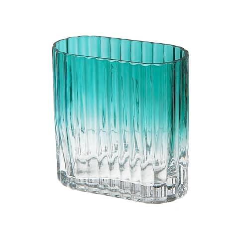 Teal Oblong Glass Vase