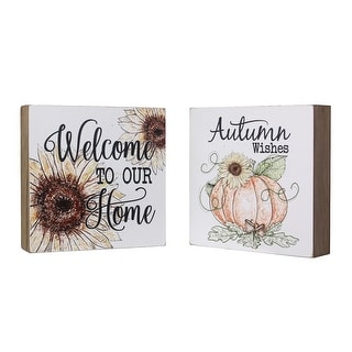 Welcome to Our Home Autumn Wishes Sunflowers Pumpkins Fall Chunky Signs Set of 2