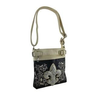 Rhinestone Fleur De Lis Sparkling Floral Conceal Carry Crossbody Purse