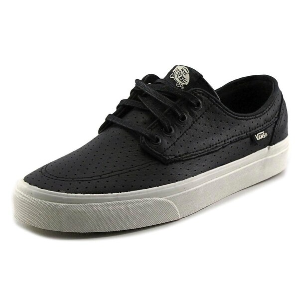 Vans Brigata Men Round Toe Leather Black Skate Shoe