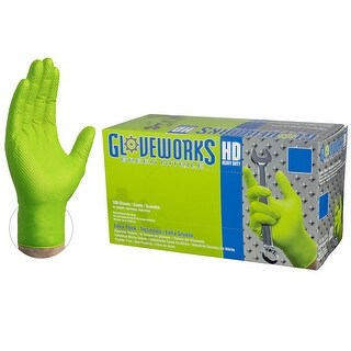 GLOVEWORKS GWGN Heavy Duty Green Diamond Texture Nitrile Industrial Latex Free Disposable Gloves (Box of 100) by AMMEX