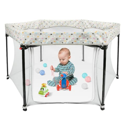 ODOLAND 59inch x 59inch Baby Playard Bed Play Pen with Mattress Safety & Door Activity Center - L