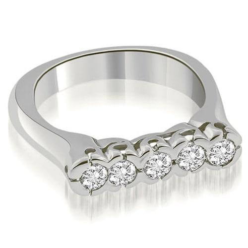 0.50 cttw. 14K White Gold Half-Bezel Set Round Cut Diamond Wedding Band