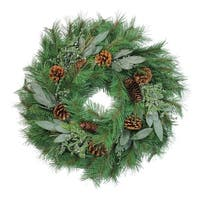 "24"" Artificial Pine and Juniper Decorative Christmas Wreath- Unlit - Green"