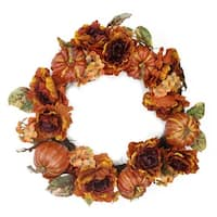 "24"" Autumn Floral and Harvest Pumpkin Artificial Thanksgiving Wreath - Unlit - Multi"