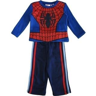 Marvel Little Boys Royal Blue Red Spiderman Long Sleeve 2 Pc Pant Set