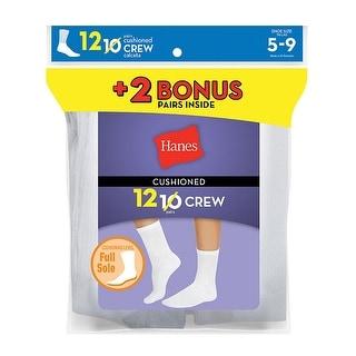 Hanes Women's Cushion Crew Socks White 12-Pack (Includes 2 Free Bonus Pairs) - 5-9