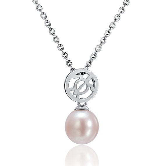 """Honu Circle Pearl Necklace Sterling Silver Pendant 18"""" Chain"""