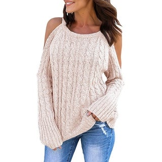 QZUnique Women's Sexy Halter Neck Cable Knit Sweater Tops Cut Out Cold Shoulder Long Sleeve Pullover Jumper