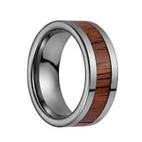 Tungsten Carbide Flat Wedding Band With Koa Wood Inlay & Polished Edges - 8mm