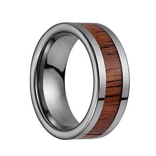 Tungsten Carbide Flat Wedding Band With Koa Wood Inlay & Polished Edges - 8mm