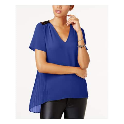 MICHAEL KORS Womens Blue Lace Yoke Pleated Back Short Sleeve Scoop Neck Hi-Lo Top Size: L