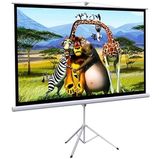 "Onebigoutlet 100"" Tripod Portable Projector Projection HD Screen Foldable Stand, 87""x49"", 16:9"